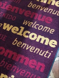 The concept of multi-lingual welcomes and thank you's is not totally uncommon, but having the message woven into the store's Welcome Mat is a new approach. You can't help but take notice as you cro… Store Fixtures, Welcome Mats, Retail, Concept, Messages, Purple, Color, Colour, Purple Stuff