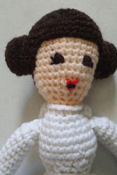 Hand crocheted Princess Leia of Star Wars fame in amigurumi form. Crochet Princess, Princess Leia, Hand Crochet, Awesome, Etsy, Amigurumi, Be Awesome, Crochet, Chrochet
