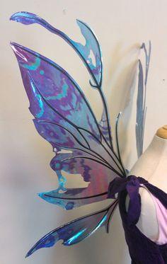 Fancy Fairy Wings & Things!   Kira wings in painted blues - side view