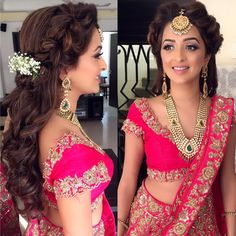 Sweet & Elegant Hairstyle Ideas with Dainty Baby's Breath Flowers Lehenga Hairstyles, Bollywood Hairstyles, Hairstyles For Gowns, Open Hairstyles, Elegant Hairstyles, Bride Hairstyles, Hairstyle Ideas, Kareena Kapoor Hairstyles, Indian Hairstyles For Saree