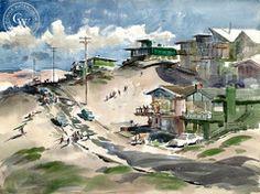 Art Riley - Playa del Rey, L.A., 1957 - California art - fine art print for sale, giclee watercolor print - Californiawatercolor.com