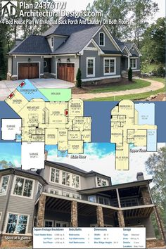 Huge house Architectural Designs House Plan 24376TW gives you 4BR, 3.5 BA, and over 4,3000 SQ FT of heated living space PLUS an optional finished lower level.