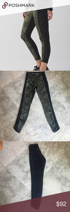 Lululemon Beyond Boundaries Tight 4!!! In excellent condition, Lulu Beyond Boundaries 7/8 Tight in Full -Luon fabric! Worn twice, no piling or defects-High Rise, hugged sensation- This Tight is unique with the green Python fabric in front/ black fabric in the back with laser cut side details- No Trades, this Tight is non negotiable lululemon athletica Pants Leggings