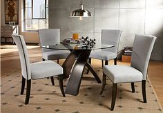 Del Mar Ebony 5 Pc Round Dining Set with Gray Chairs Set includes Dining Table & Side Find affordable Dining Room Sets for your home that will complement the rest of your furniture. Round Dining Room Sets, Round Dining Table, Dining Room Table, A Table, Dining Rooms, Rooms To Go Furniture, Home Furniture, Furniture Ideas, Dining Room Suites