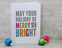 Merry and Bright Greeting Cards: Christmas Greeting Card Set - Neon, Bright, Fuschia Pink, Orange, Neon Green, Blue, Grey (Set of 6). $18.00, via Etsy.