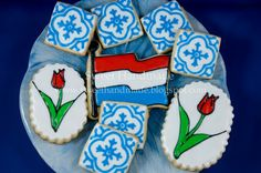 Sweet Handmade Cookies - Dutch flag cookies, tulip cookies, Delft blue tile cookies