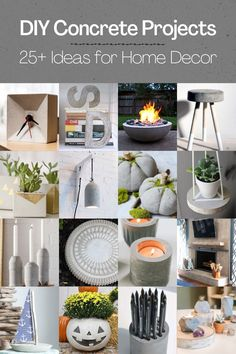 I'm obsessed with using cement in crafts, and these DIY concrete projects are the perfect way to fulfill my need! I love how modern these ideas are. Craft Projects For Adults, Diy Home Decor Projects, Decor Crafts, Concrete Candle Holders, Unique Candle Holders, Concrete Crafts, Concrete Projects, Woodworking Tutorials, Bottle Candles