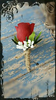 Congratulations on your Special Day!  Thank you for stopping by!   This red boutonniere features one red rose bud, white faux babys breath, and rose leaf greenery. The stems are wrapped and tied with natural twine . Pin included  **NOTE: Please note the date of your event at checkout. Due to my workload, this item usually takes 2 weeks to be completed for shipment, however if you need it sooner, I want to be sure that I have your item/items completed and shipped in plenty of time before your…