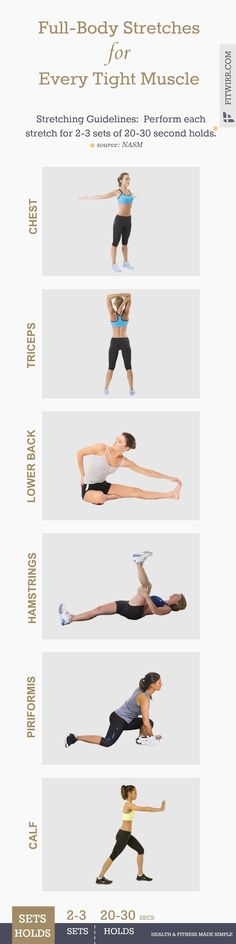 Aching and sore lower back, tight calf muscles—they not only put unnecessary stress on your joints, but some health experts believes overtime, they can lead to poor posture, chronic pain, and injuries, if left not properly cared for. So if you're feeling sore, stiff and cramping while you're running, you may be in need for some quality stretching. Here's a list of the best stretches for every body part and every aching muscle in your body. #fitness #stretches #flexibility #exerciseposter