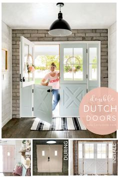 Gorgeous exterior farmhouse double dutch doors so pretty and allows for natural light. Love the ability to open the top for airflow and adore the farmhouse charm. Farmhouse Trim, Industrial Farmhouse, Half Doors, Front Doors, Painted Brick Exteriors, French Door Curtains, Double French Doors, Door Paint Colors, Painted Bedroom Furniture