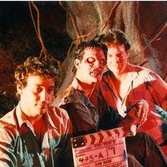 Behind the scenes Evil Dead 2 Evil Dead 2013, Ash Evil Dead, Horror Films, Horror Art, Evil Dead Series, Sam Raimi, Slasher Movies, Bruce Campbell, Scary Movies