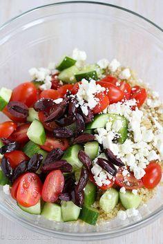 Quinoa Greek Salad with Tomato, Cucumber & Feta Cheese | cookincanuck.com #salad #quinoa by CookinCanuck