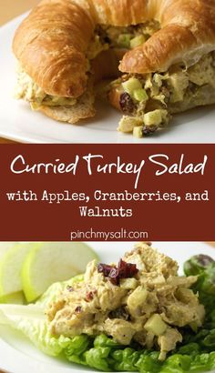 This easy curried turkey salad recipe is the perfect way to use up leftover Thanksgiving turkey! With apples, cranberries, and walnuts (or pecans), this turkey salad is healthy and packed with flavor! Make a delicious curry turkey salad sandwich on a croissant or your favorite bread to make the most of your Thanksgiving leftovers! | pinchmysalt.com