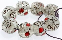 "8 PCS Handmade Lampwork Glass Beads set  ""fIora ice and White ""  SRA on Etsy, $28.99"