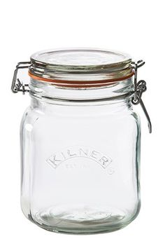 Weckpot vierkant met beugelsluiting 1 liter Kilner