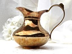 Brass Pitcher, Home Decor, Made in India, Solid Brass Pitcher, Retro Chic, Home and Garden by AgedwithGraceVintage on Etsy