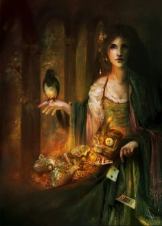 Gypsy sorceress--check out her familiar & her magical wares...