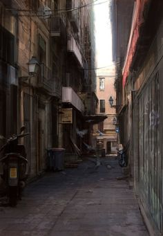 Concept art produced for Wheelman - an example of one of the narrow alleyways of Barcelona. Barcelona Alleyway In Daylight Editing Background, City Background, Animation Background, Cyberpunk City, Barcelona, City Aesthetic, Fantasy Places, Alleyway, Aesthetic Drawing