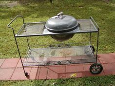 Wrought iron cart and Weber grill