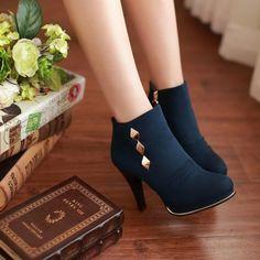 Cute Rivet Design Deep Blue High Heel Boots on Luulla Cute Shoes Heels, Pretty Shoes, Beautiful Shoes, Platform Ankle Boots, High Heel Boots, Heeled Boots, Fashion Heels, Fashion Boots, Kawaii Shoes