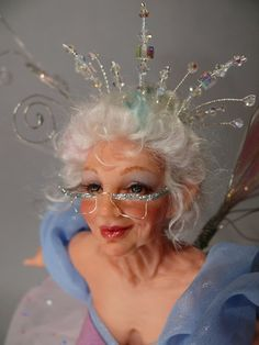 Fairy Godmother crown, glasses and eyelashes