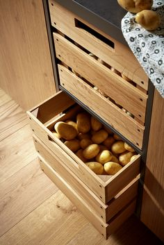 Plan your kitchen with all-round carefree service at Spitzhüttl Home Company - Potatoes and onions find their place in the oak wooden drawers. More ideas at Spitzhüttl Home Comp - Kitchen Pantry Design, Kitchen Organization Pantry, Diy Kitchen Storage, Modern Kitchen Design, Home Decor Kitchen, Interior Design Kitchen, Home Design, Kitchen Furniture, Storage Organization