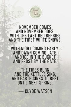 Inspiring poem about November...