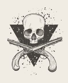 gun anatomy: Hand drawn doodle skull with two crossing flintlock pistols. EPS10 vector drawing.
