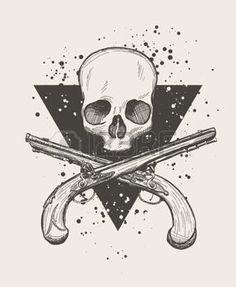 gun anatomy: Hand drawn doodle skull with two crossing flintlock pistols. Flintlock Pistol Tattoo, Pistol Drawing, Pirate Tattoo, Gun Art, Sweet Tattoos, Trident, Skull Tattoos, Tattoo Sketches, Skull Art