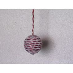 Handcrafted Red and White Bead Wrapped Ornament Fabric Ornaments, Ball Ornaments, Handcrafted Christmas Ornaments, White Rope, Glass Ball, White Beads, Pearl Beads, Red And White