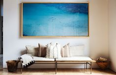 huge framed ocean photo in this sitting area