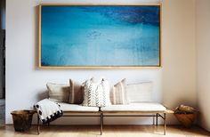 huge framed ocean photo in this sitting area