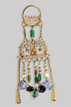 Earring or ornament for a diadem, Crete, first half of 10th century, gold, garnets, pearls, sapphires, emeralds, and glass, Athens, National Archaeological Museum, Stathatos Collection