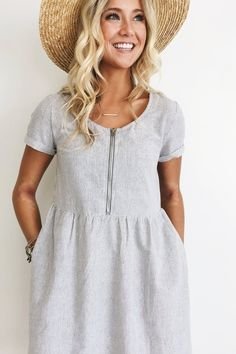 White Dress + Grey Stripes Short Sleeved Zipper Down Front Side Pockets Fits True to Size