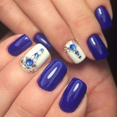 Beautiful evening nails, Blue gel nail polish, Blue shellac, Blue shellac nails, Evening nails by gel polish, Nail polish for blue dress, Nails with rhinestones ideas, Spring nail ideas