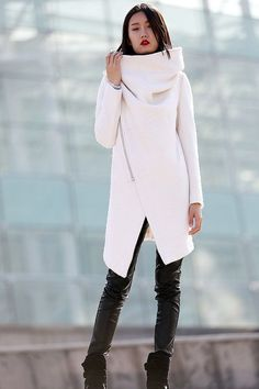 High Collar 100% Wool Jacket Winter Wool Coat for Women in white -CF052