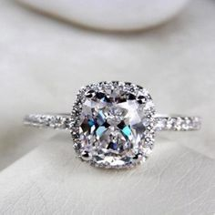 2 25 Ct Cushion Cut Diamond Engagement Ring VVS1 D White Gold Hearts Arrows |