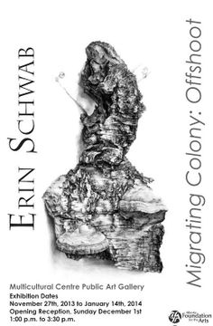 Erin Schwab, Migrating Colony: Offshoot at MCPAG, Stony Plain Nov 27 to Jan 14 2014. Opening reception Dec 1 1 pm to 3:30 pm.