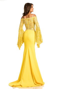 Johnathan Kayne - 7244 Bell Sleeve Off-Shoulder Lace Gown Evening Dresses, Formal Dresses, Yellow Evening Gown, Prom Dresses With Sleeves, Pageant Dresses, Party Dresses, Girls Dresses, Wedding Dresses, Mellow Yellow
