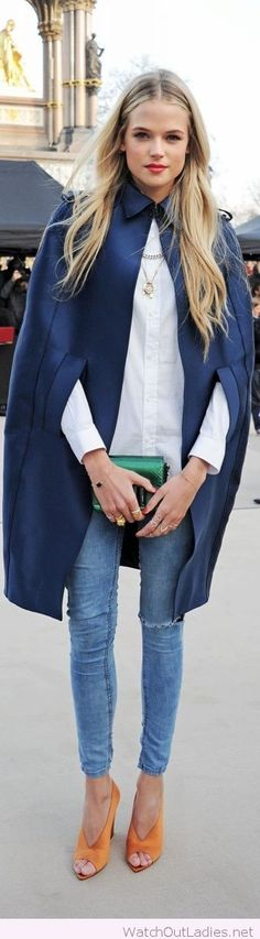 Navy cape, white shirt and jeans