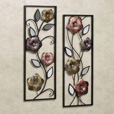 Framed Wall Art | Home Framed Flower Mirrored Wall Art Multi Jewel Set of Two
