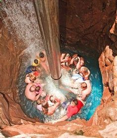 I WANNA GO! Grand Wailea Canyon Activity Pool Maui, Hawaii 25,700-square-ft wet playgrounds a destination in itself (guests receive a map upon entry). 9 pools at 6 levels (40 ft to sea level) connected by a river that carries swimmers along at varying speeds, lazy river currents to whitewater rapids. Highlights include 7 slides, grottoes, scuba certification pool,  Tarzan pool w/ rope swing. The worlds only water elevator swimmers are lifted to the surface in a sealed chamber. Epic.