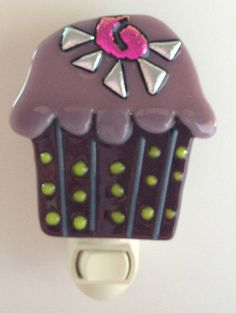 Tiny Cupcake Fused Glass Nightlight by NibNab on Etsy, $15.00