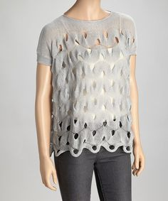Look what I found on #zulily! Gray Woven Cutout Top by Trisha Tyler #zulilyfinds