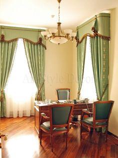 Классические шторы с бахромой и ламбрекеном для кабинета #curtains