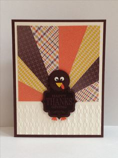Happy Thanksgiving Turkey card made using Starburst Technique.  By Kendra, Stampin' Up! Demonstrator.