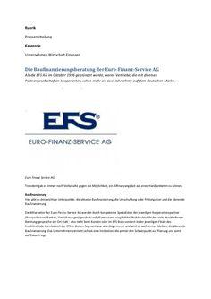 Die EFS Euro-Finanz-Service Vermittlungs AG (EFS AG) Ihr unabhängiger Finanzdienstleister  Die EFS AG bietet umfassende Allfinanzberatung mi...