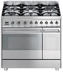 """Smeg SY92PX8 90cm """"Symphony"""" dual cavity cooker with multifunction Pyrolitic Oven and Gas hob - Stainless Steel"""