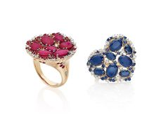 CASATO - ROMA -DRAGONEYEV-  18 kt rose gold, sapphires, rubies, emeralds and diamonds