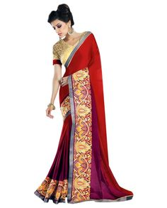 Maroon and wine shaded sari with embellished broad border   1. Maroon and wine soft silk sari2. Comes with matching unstitched blouse material